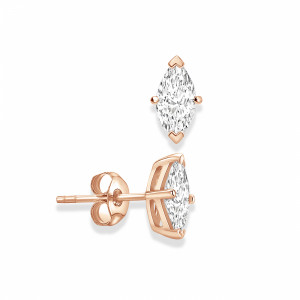 Marquise 1.40 I1 F-G ABELINI 9K Rose Gold Marquise Shape Stud Diamond Earrings Rose, Yellow, White Gold and Platinum