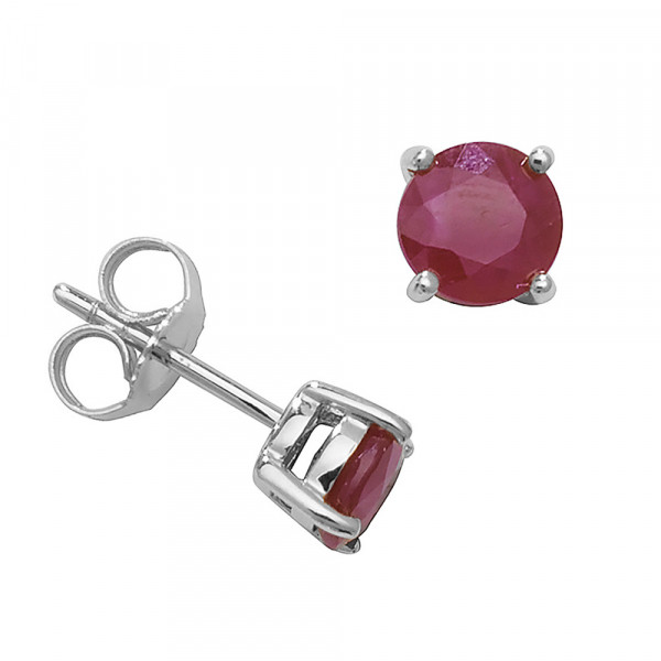 Round Shape Classic 4 Claws 5.0mm Ruby Gemstone Earrings