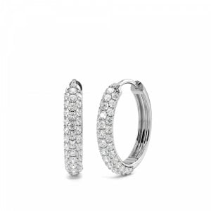 Pave Setting Round Diamond Hoop Earrings (14.50mm)