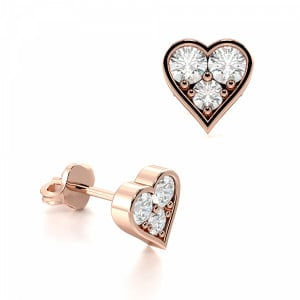 Pave Setting Round Diamond Fashion Cluster Earrings (5.80mm)