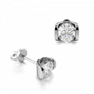 Tension Setting Round Diamond Girl Stud Earrings (3.70mm X 4.50m)