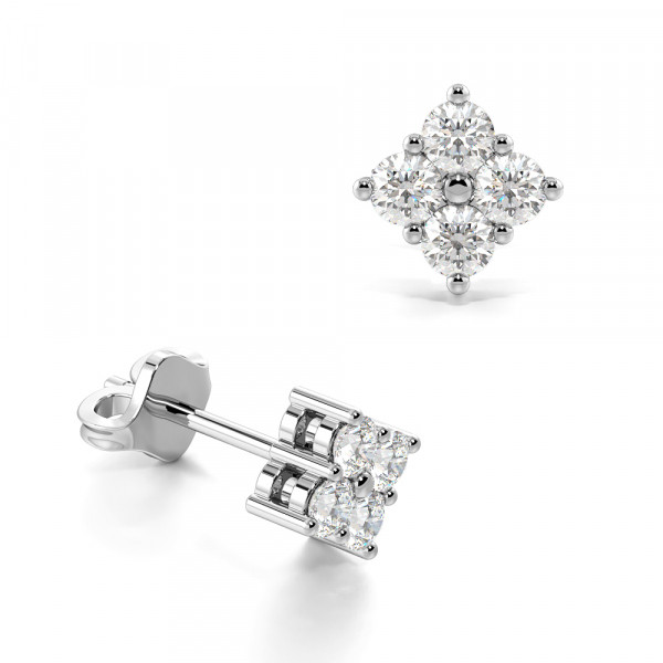 4 Diamond Square Diamond Stud Earrings / Perfect Gift for Any Occasion (5.4mm)
