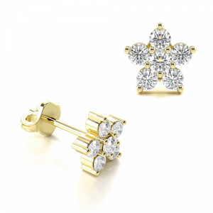 Star Cluster Diamond Earrings in White, Yellow, Rose Gold and Platinum