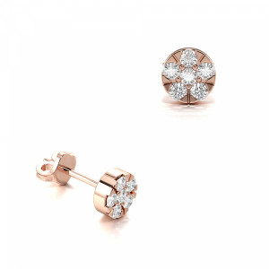 Prong Setting Round Tiny Diamond Cluster Earrings (5.20mm)