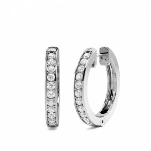 Pave Setting Popular Classic Round Diamond Hoop Earrings (17.30mm X 2.50mm)