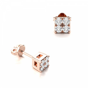 Pave Setting Round Diamond Stud Men's and Womens Earrings (2.40mm)