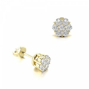 Prong Setting Round Diamond Fashion Cluster Earrings (3.50mm)