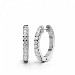 U Prong Setting Round Diamond Ladies Hoop Earrings (13.50mm)