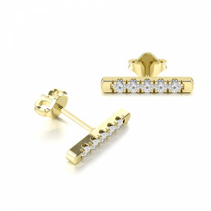 Pave Setting Round Diamond Fashion Earrings For Women (8.20mm)