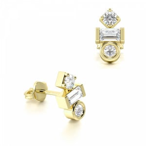 Round and Baguette Diamond Statement Ladies Designer Earrings  (7.00mm X 3.70mm)