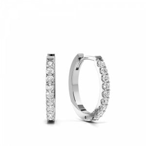 Prong Setting Delicate Diamond Hoop Earrings for Women