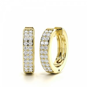Round 0.75 I1 D-E ABELINI 18K Yellow Gold Pave Setting Round Cut Two Rows of Diamond Hoop Earrings (17.60mm)