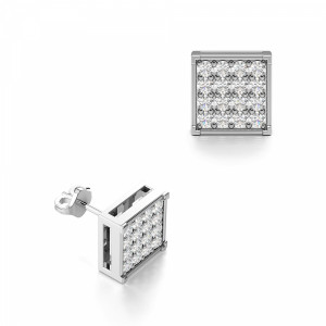 Round 0.25 SI H-I ABELINI 18K White Gold Pave Setting Round Diamond Square Cluster Mens Earrings (6.00mm)
