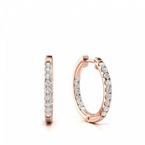 Round 0.25 VS F-G ABELINI 18K Rose Gold Prong Setting Round Diamond Delicate Small Hoop Earrings (14mm)