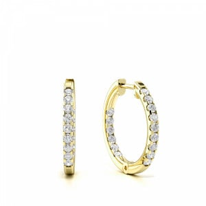 Prong Setting Round Diamond Delicate Small Hoop Earrings (14mm)