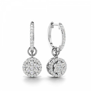 Prong Setting Round Diamond Cluster Drop Earrings (20.0mm X 7.0mm)