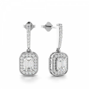 Emerald Cut Diamond Grouped with Diamond Long Drop Earrings (19.60mm X 7.0mm)