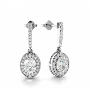 Oval 1.25 I1 H-I ABELINI 950 Platinum Prong Setting Oval Cut Exclusive Diamond Halo Drop Earrings (20.0mm X 7.60mm)