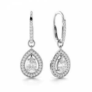 Luxurious Tear Drop Shape Halo Style Dangling Drop Earrings  (26.0mm X 9.0mm)