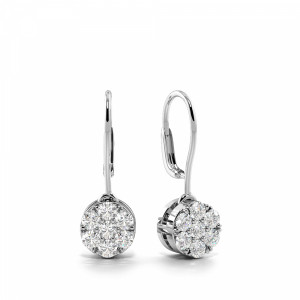 Pave Setting Round Shape Diamond Ear Hoop Cluster Drop Earrings (5.70mm)
