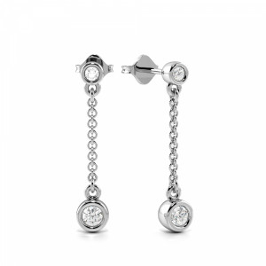 Bezel Setting Round Diamond Statement Long Drop Earring (18.70mm X 3.50mm)