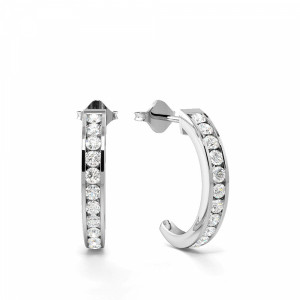 Classic Must Have Channel Setting Round Diamond Open Hoop Earrings (15.7mm)
