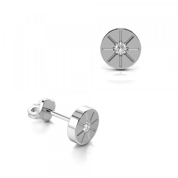 Solid Circle With Lines Diamond Stud Earrings for Men in Silver, Gold & Platinum (5.00mm)