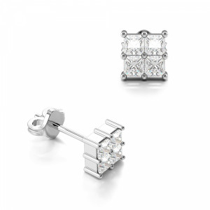 Four Princess Shape Square Diamond Cluster Earrings for Men's and Women (3.70mm)