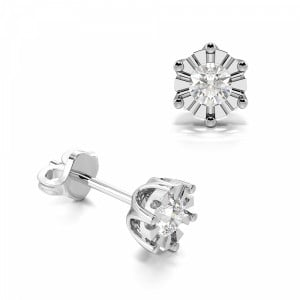 Illusion Set Six Claw Diamond Stud Earrings for Mens and Women (3.50mm X 3.10mm)