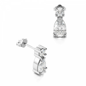 Stylish Pear Shape Tear Drop Diamond Stud Earrings  (8.50mm X 3.80mm)