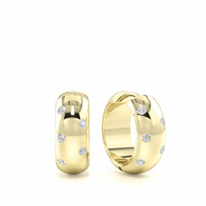 Round 0.15 I1 D-E ABELINI 18K Yellow Gold Small Wide Diamond Hoop Earrings for Mens and Women (13.00mm X 14.00mm)