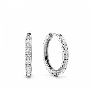 Delicate Round Diamond Clip on Diamond Hoop Earrings (14.80mm X 15.30mm)