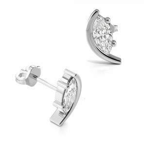 Marquise Shape Half Moon Diamond Stud Earrings for Women (8.20mm X 5.00mm)