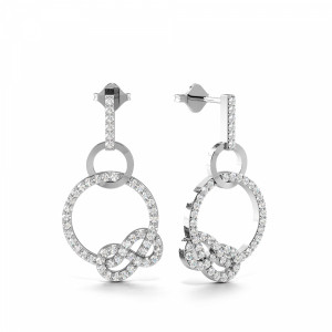 Pave Setting Circle & Infinity Designer Drop Diamond Earrings (23.60mm X 12.60mm)