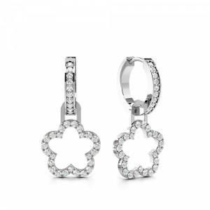 Pave Setting Round Shape Clover Drop Designer Diamond Drop Earrings (21.50mm  X 10.60mm)