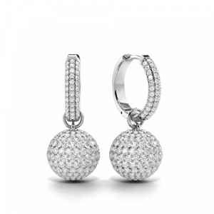 Pave Setting Round Shape Luxurious Designer Drop Diamond Earrings (25.0mm X 10.70mm)