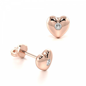 Bezel Setting Round Shape Solid Heart Designer Diamond Stud Earrings (5.50mm)