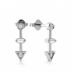 4 Prongs Round Shape Arrow Diamond Stud Drop Earrings (13.30mm X 3.60mm)