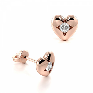 Channel Setting Round Shape Solid Heart Designer Diamond Stud Earrings (6.20mm X 6.40mm)