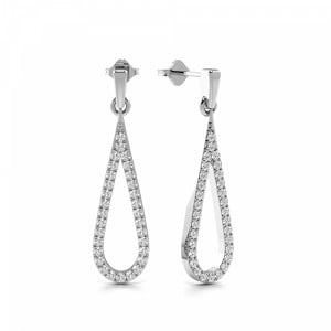 Pave Setting Round Shape Long Open Diamond Drop Earrings  (31.0mm X 8.0mm)