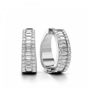 Prong Setting Round & Baguette Shape Wide Diamond Hoop Earrings  (19.0mm X 20.0mm)