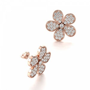 Pave Setting Round Shape Flower Designer Stud Diamond Earrings (18.0mm X 17.0mm)