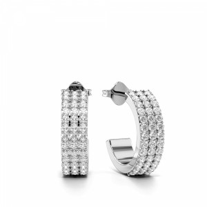Pave Setting Round Shape 3 Raw Diamond Hoop Earrings  (12.00mm X 11.50mm)