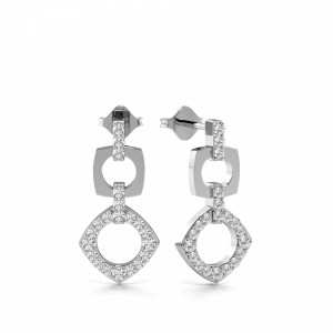Prong Setting Round Shape Square and Triangle Designer Diamond Stud Earrings (18.00mm X 8.80mm)