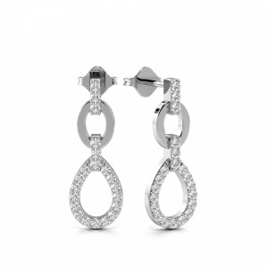 Prong Setting Round Shape Designer Diamond Drop Earrings (18.50mm X 6.50mm)
