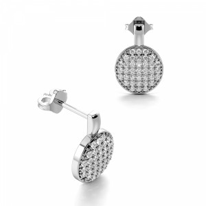 Pave Setting Round Shape Circle Disc Diamond Cluster Earrings Drop Earrings (12.00mm X 8.20mm)