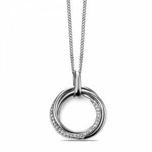 Open Circle Diamond Necklace in Yellow, White and Rose Gold (24mm X 11.5mm)
