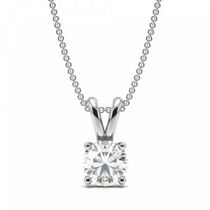 Round 0.70 VS2 G ABELINI 9K White Gold Round 4 Prong Set Solitaire Diamond Pendant Necklace