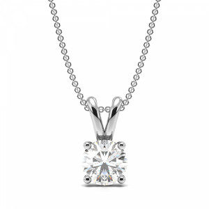 Round 1.00 I1 H ABELINI 950 Platinum Round 4 Prong Set Solitaire Diamond Pendant Necklace