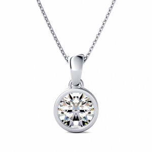 Round 0.70 VS1 E ABELINI 950 Platinum Full Bezel Prong Setting Round Solitaire Diamond Pendant